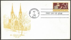 US FDC.1982 FRANCIS OF ASSISI 20C STAMP #2023,FIRST DAY OF ISSUE COVER