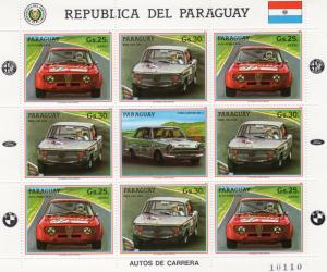 Paraguay 1987 Racing Cars - BMW -ALFA ROMEO Mini-Sheetlet (8+1L) Mi.#4094/5 MNH