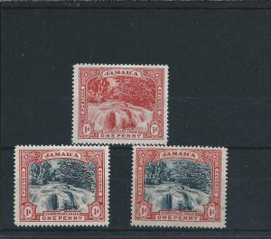 JAMAICA 1900-01  FALLS THREE STAMPS ALL WMK CC TO LEFT, ONE ON SLIGHTLY BLUED