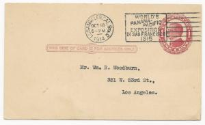 US ADV Cover Postal Card World's Panama-Pacific Exop San Fran 1915 Machine Cance