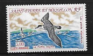 ST PIERRE & MIQUELON C69 MNH MIGRATORY BIRDS, PUFFIN ISSUE