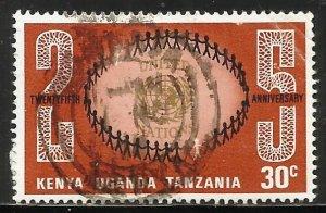 Kenya, Uganda & Tanzania 1970 Scott# 221 Used (paper remnants)