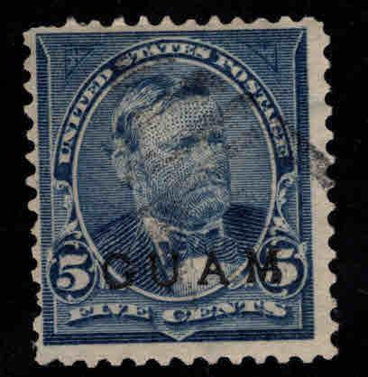 GUAM Scott 5 Used 19th century overprint CV $45 small thin