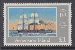 Ascension 414 Sailing Ship MNH VF