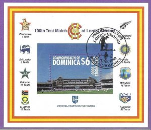 2000   DOMINICA  -  SG.  MS 2870  -  LORD'S  CRICKET  GROUND  -  USED