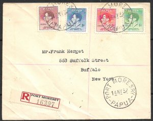 PAPUA 1937 KGVI Coronation Set Sc 118-121 on Registered Port Moresby to USA FDC
