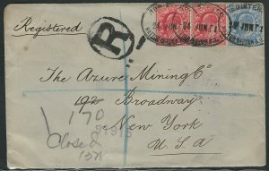 Great Britain 1902 Registered Cover, London to New York City, 6 Postal Markings