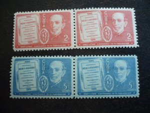 Stamps - Cuba - Scott#364-365 - Mint Hinged Set of  Stamps in Pairs