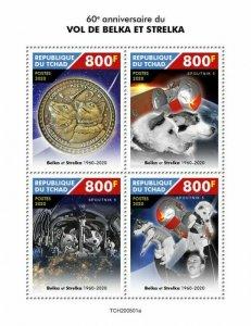 2020/11- CHAD- SPACE BELKA AND STRELKA        4V complet set    MNH **