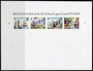 Tuvalu 1979 Sc#117a BICENTENARY OF DEATH CAPT.JAMES COOK STRIP IMPERFORATED