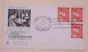 UNITED NATIONS  NY  AUTOGRAPH 1958 CACHETED