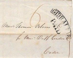 AF83 1838 GIBRALTAR Curved PAID Postmark Historic Letter LORD RAGLAN Cadiz WINE