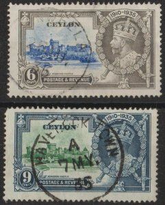 h027) Ceylon. 1935. Used.  SG 379/80.  Silver Jubilee. Royalty.