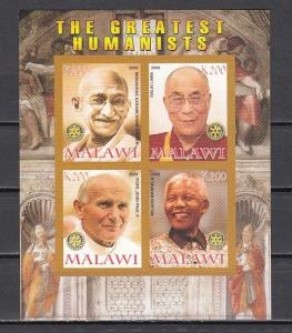 Malawi, 2008 Cinderella issue. Humanists as Mahatma Gandhi, IMPERF sheet. ^