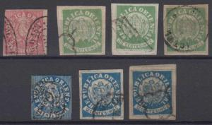 URUGUAY 1864 COAT OF ARMS Sc 18, 21 & 23 GROUP OF 7 FORGERIES USED (CV$123)