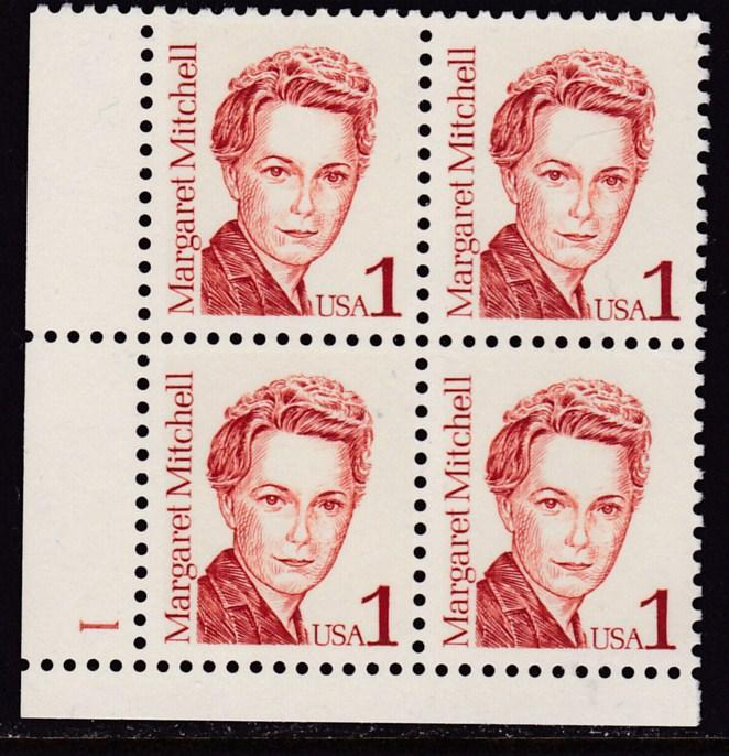 United States 1986 1c Great Americans Margaret Mitchell Plate Nr. Block  VF/NH