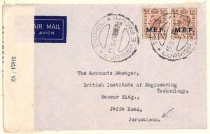 Ap102 BOIC WW2 Censor Cover 1943 British LIBYA MEF Overprints Air Mail Palestine