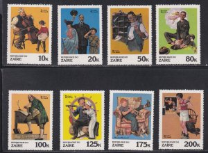 Zaire # 1005-1012, Norman Rockwell Paintings, NH, 1/2 Cat.
