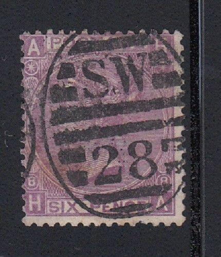 Great Britain Scott 51a Used, plate 8 (Catalog Value $115.00)