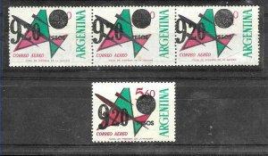 #380 ARGENTINA VARIETY 1975 AVIATION O/PRINT DISPLACED STRIPx3+REF GJ 1694 MNH
