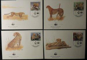 upper volta 1984 WWF cheetahs 4 values FDC animals big cats mammals