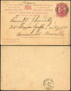 CP37 QV 1d + 1d Carmine Foreign Reply Card Format CF10 Stamp L8 Used