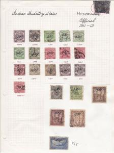 India States Hyderabad Official Stamps on Page  Ref 33187