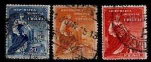 Uruguay Scott 193-195- Used top values of 1910 stamp set