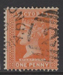 VICTORIA SG313f 1891 1d BROWNISH ORANGE USED
