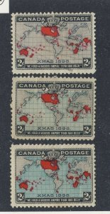 3x Canada 1898 Xmas Stamps 2x #85-2c MNG F/VF #86-2c MH F/VF Guide Value=$115.00