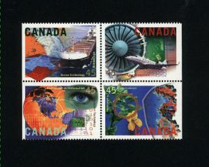 Canada #1598i Mint VF NH block  PD