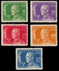 Sweden 1928 King Gustav 70th birthday set Sc B32-36 mh