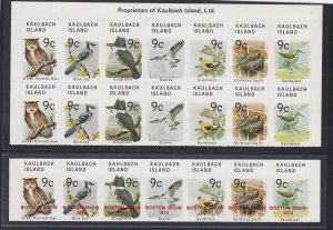Kaulbach Island Bird Stamps, Block of 14 + Strip of 7 Overprinted, NH