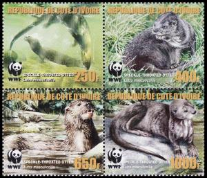 Ivory Coast WWF Speckle-throated Otter 4v in block 2*2 with error MI#1349-1352A