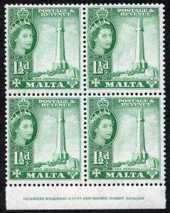 Malta SG269 1 1/2a Bluish Green U/M imprint Block