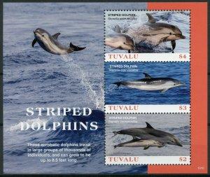 Tuvalu 2019 MNH Striped Dolphins 3v M/S Mammals Marine Animals Stamps
