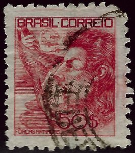 Brazil SC#528 Used F-VFnibbed corner SCV$10...Brazil is Hot!!