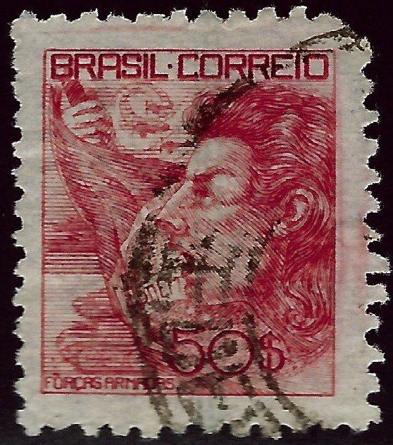 Brazil SC#528 Used F-VFnibbed corner SCV$10...Brazil is Hot!!
