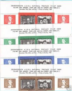 US MNH. 1965 ASDA Labels, JFK & Churchill imprint strips, complete set