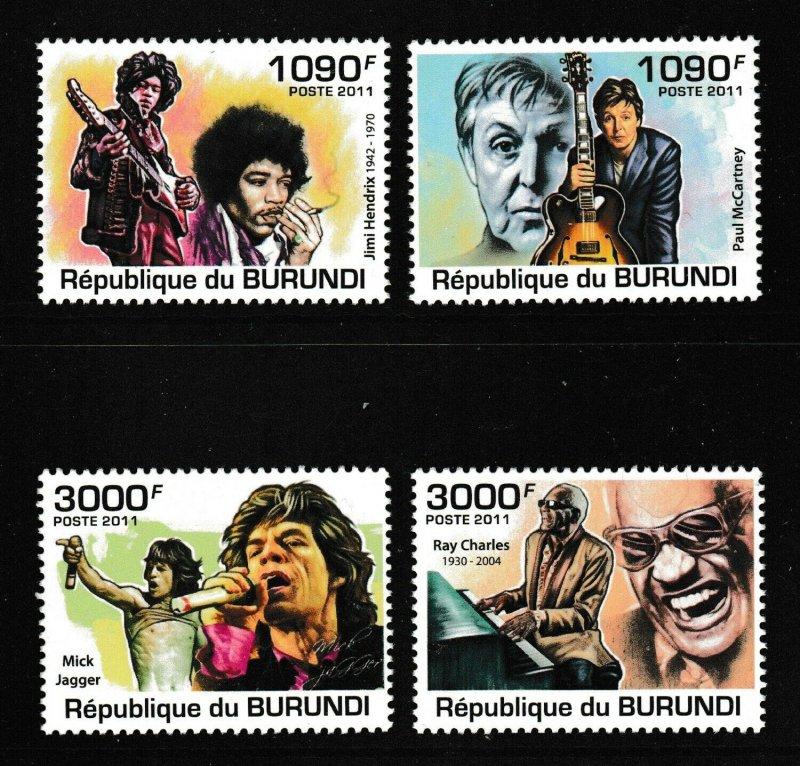 Burundi MNH 966-9 Famous Singers 2011 SCV 12.50