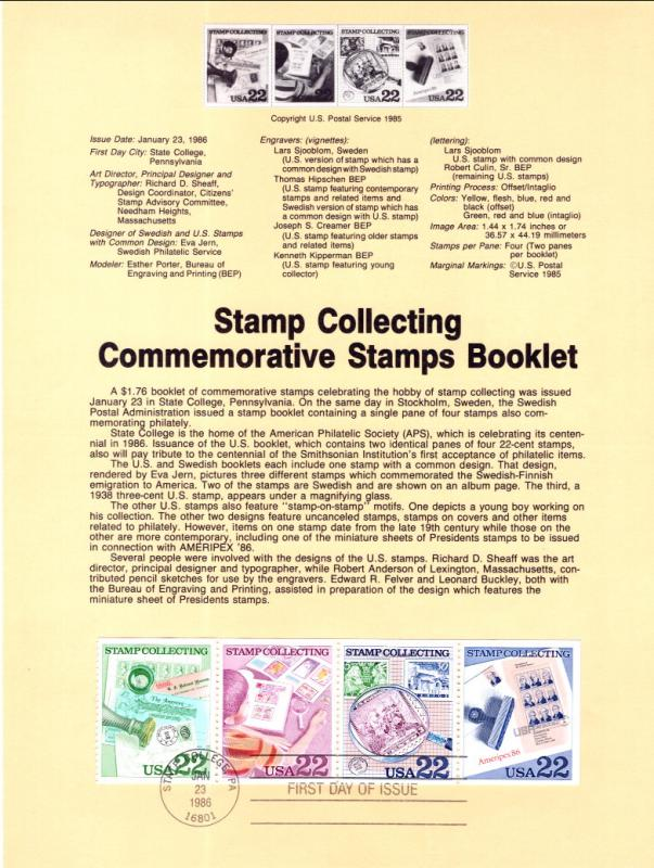 US SP741 Stamp Collecting 2201a Souvenir Page FDC
