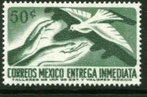 MEXICO E22 50c 1950 Def 7th Issue Fluor printing BACK NH