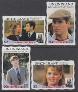 St Vincent Grenadines Union Island 228-231 Royal Wedding MNH VF