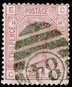 SG141, 2½d rosy mauve PLATE 14, USED. Cat £60. CE