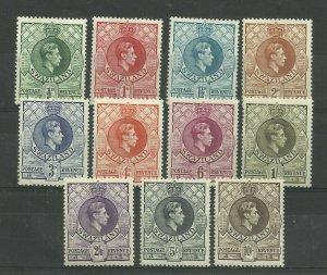 SWAZILAND GVI 1938 Set of 11, perf 13.5x13, Sg 28-38 Mounted Mint. ( Box 5-9}
