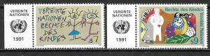 UN Vienna 117-18 Rights of the Child set with MI tab MNH
