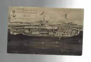 1915 WW 1 England Postcard Cover Captured German U Boat Mine Laying submarine