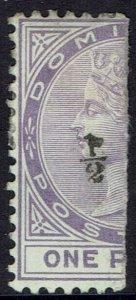 DOMINICA 1882 QV BISEC 1/2 ON 1D NO GUM