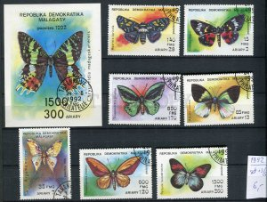 265156 Madagascar 1992 year used stamps set+S/S butterfly