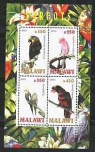 Malawi 2010 M/S Parrot Parrots Nature Bird Birds Animals Flower Flora Stamps MNH